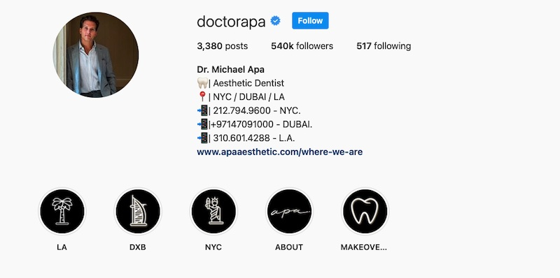 Dr. Apa's Instagram page